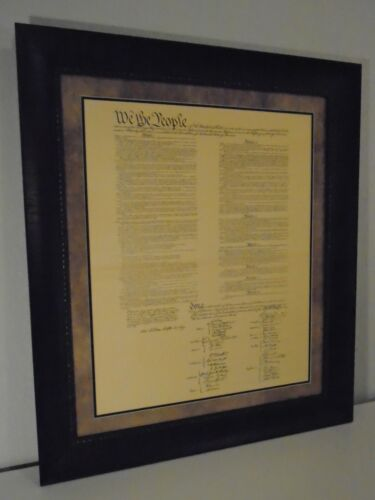 LARGE CONSTITUTION OF THE UNITED STATES OF AMERICA PRINTED PARCHMENT FRAMED