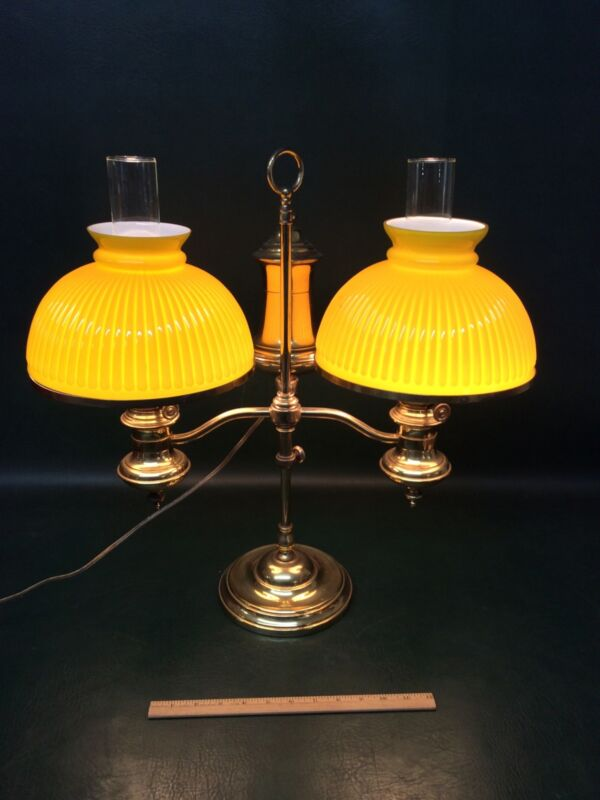 Antique Miller Style Double Brass Oil Student Lamp yellow ribbed Cased Shades