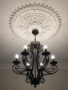 metal chandelier with six roses (globes included)