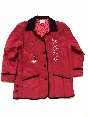 Desert Heat Red Christmas Quilted Embroidered Button Coat Jacket Stars Santa -