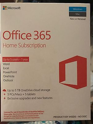 Microsoft Office 365 Home Subscription 5 Pc Mac   5 Tablets  1 Year