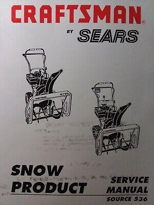 Sears Craftsman Walk-Behind 536. model Snow Thrower Blower Service Repair Manual