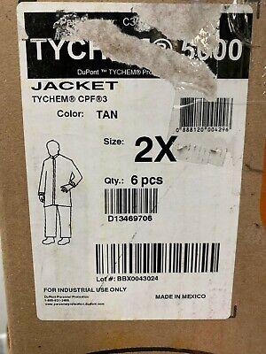 Qty6 Dupont C3670t Tn 00 2x Tychem 5000 Jacket Collar Elastic Wrists Tan