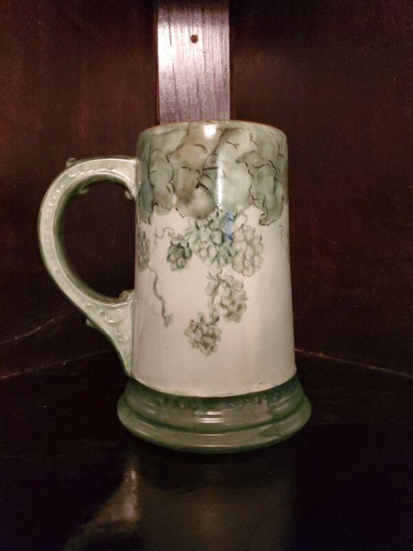 """Vintage green LIMOGES Porcelain STEIN """" HOPS leaves and blossoms."""