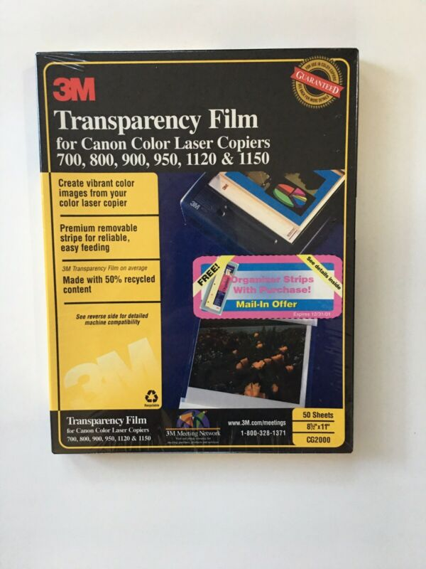 3M Transparency Film For Cannon Color Laser Copiers CG2000 50 Sheets