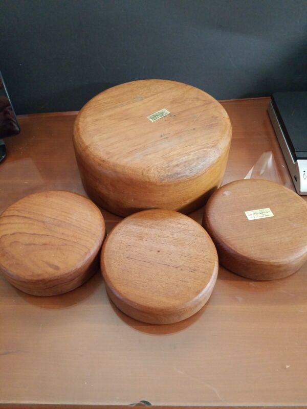 VINTAGE GAILSTYN-SUTTON  GENUINE TEAK WOOD SALAD BOWL w 3 serving bowls