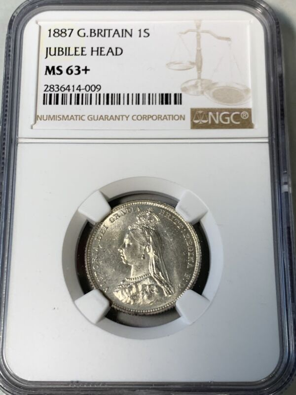 1887 Great Britain One Shilling NGC MS63+ high value