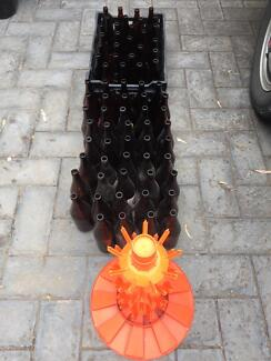 Beer bottles pick axe , crate and cleaning tree