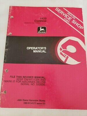 John Deere 4420 Combine Owners Operators Manual Sn 550001-