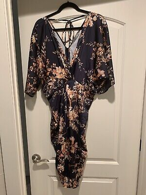 NWT Hope & Ivy Kimono Sleeve Midi Dress With Knot Front Detail Floral Print  20