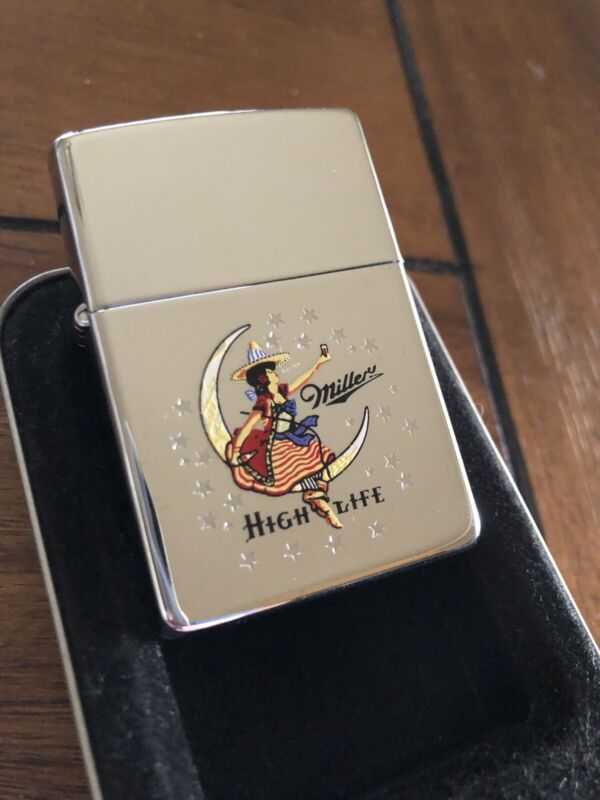 Zippo lighter 1996 miller high life lady and moon 968 MINT