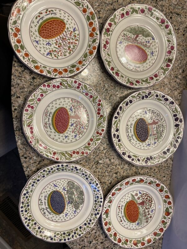 Gien LES TARTES Dessert Plates FRANCE Marie Pierre Boitard - Set of 6