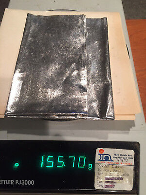 Indium 99.99 Pure Sheets 12x12 X.010 155 Grams 4.98 Troy Oz.