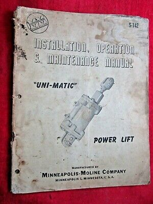 Vintage Minneapolis Moline Uni-matic Power Lift Installation Operation Manual