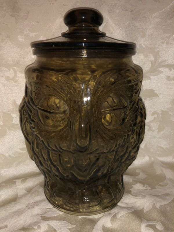 "Vintage Brown Glass Owl Cookie Jar Canister 13"" Tall,  9"" Wide + Lid"
