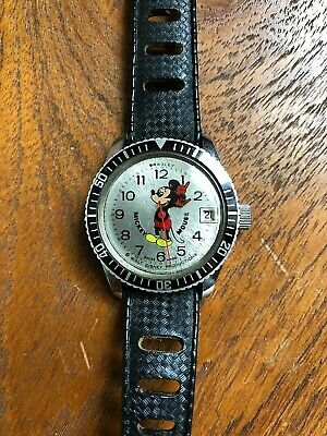 VINTAGE BRADLEY MICKEY MOUSE DIVER WATCH SWISS ROTATING BEZEL