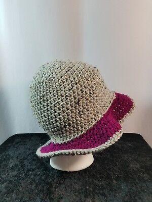 Cloche Flapper Hat Handmade Crochet Gray Tweed with Deep Purple Brim