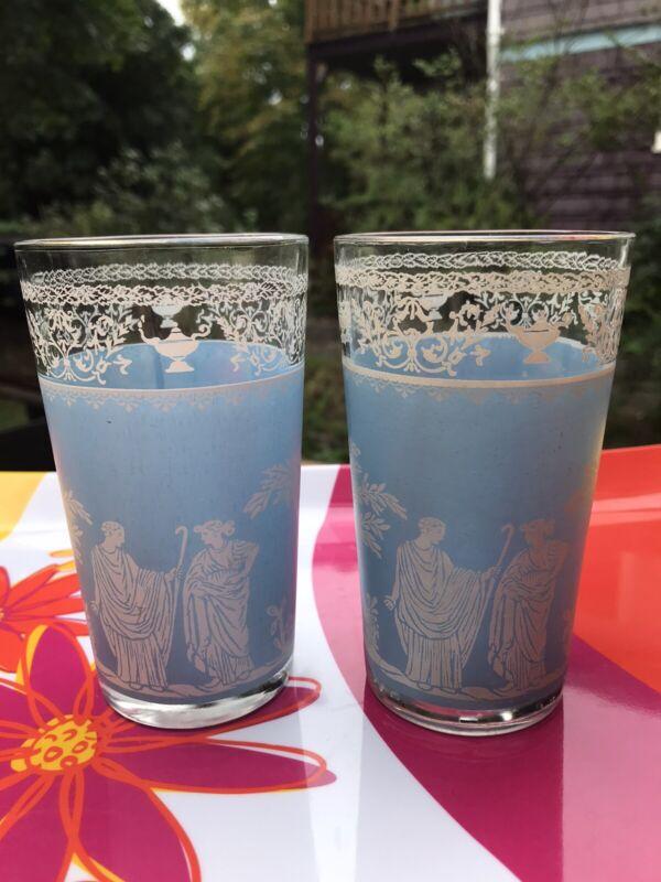 2 Vintage Jeannette Hellenic Blue 10 OZ Tumbler Greek Roman Athens Glasses Dis