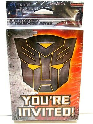 Transformer Party Invites (Transformers  Birthday Party Invitations Pack of 8 w Envelopes Thank You)