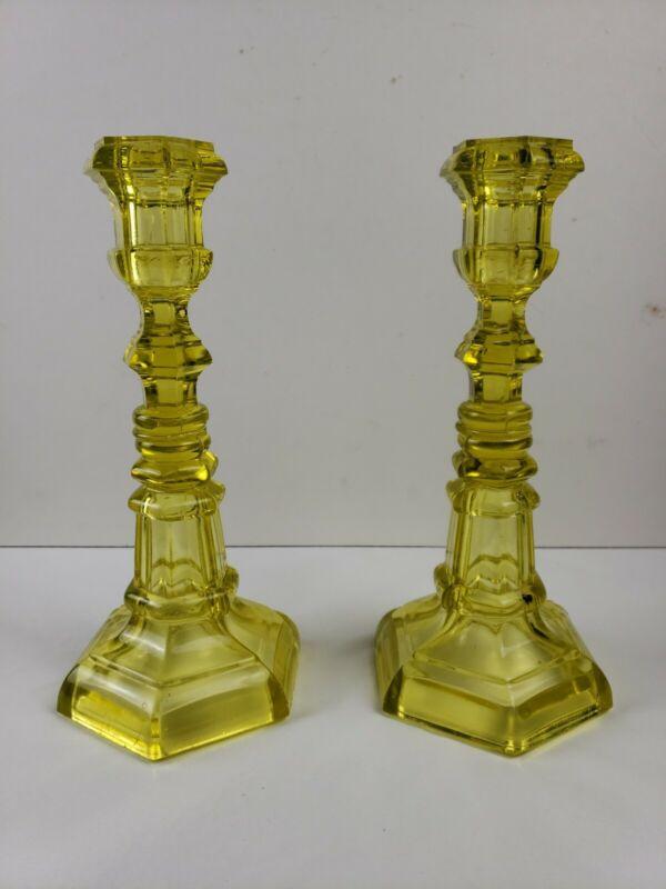 Pair of American Canary Yellow Flint Glass Candlestick Boston & Sandwich Glass