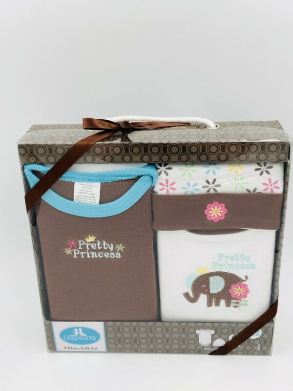3 Piece Embroidered Baby girl Gift Set in Brown/Pink