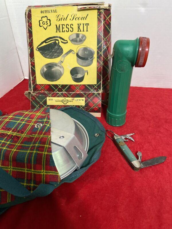 Girl Scout Vintage Camping Essentials Mess Kit Flashlight Pocket Knife