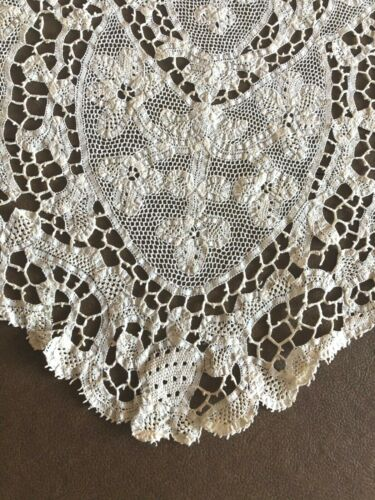 Large Handmade Lace Antique Oval Piece