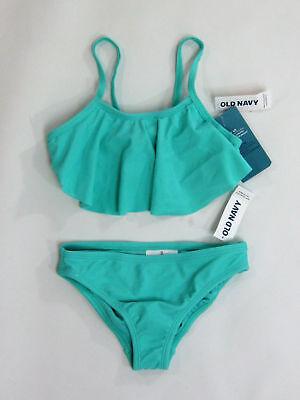 Old Navy girls twist back ruffle bikini suit set aqua color size small (6/7) NWT](Old Girls)