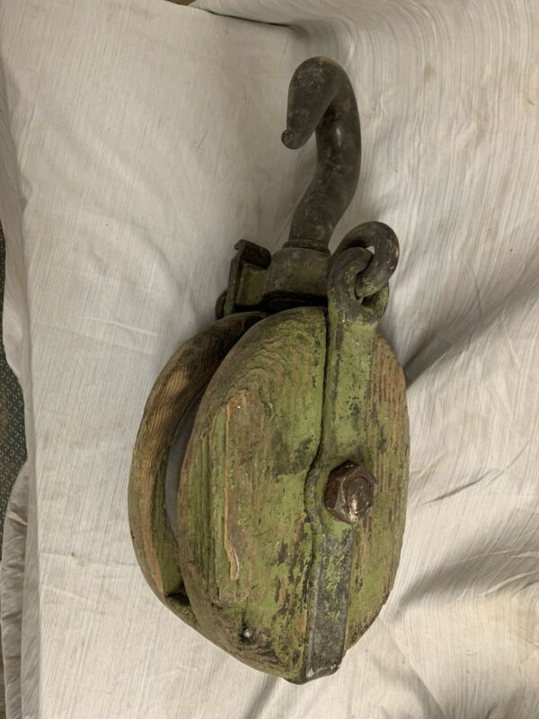 Antique Large Green Pulley