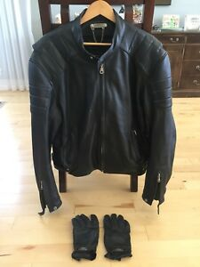 Leather Roadchrome Motorcycle Jacket and gloves
