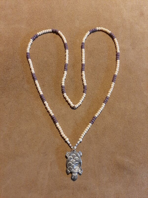 Turtle Pendant Britannia Pewter & Beaded Wampum Style Necklace, Longhunter,...
