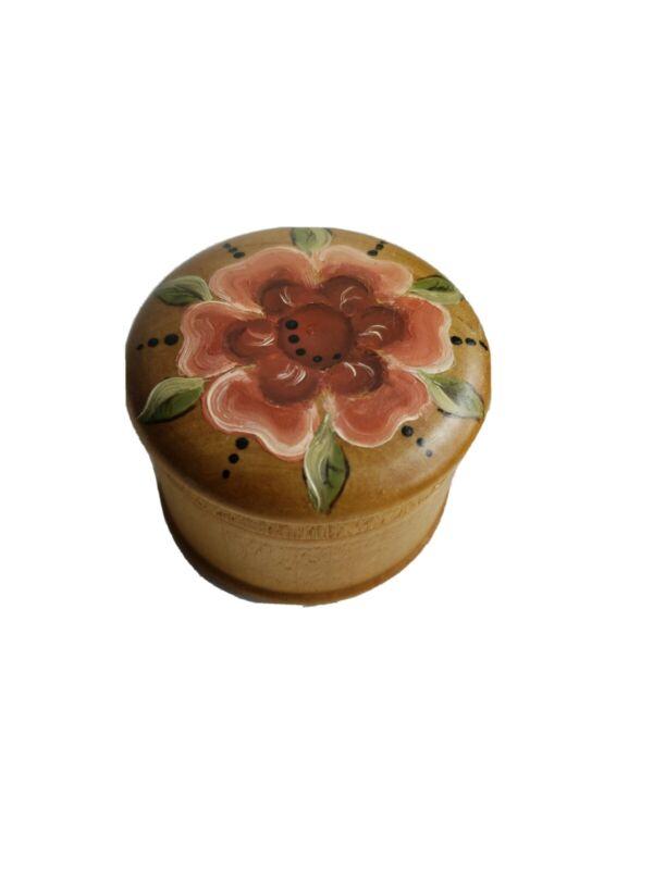 Small Round Wooden Hand Painted Trinket ring box key holder gift boho farmhouse