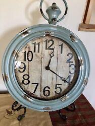 Metal Wall Clocks Large Weathered Finish Round Pocket Watch Style Wall Clock
