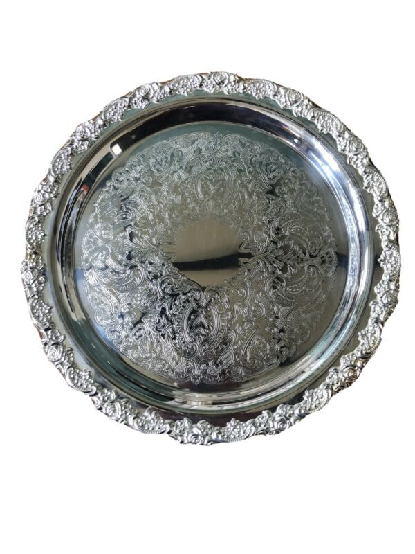 "Vintage Oneida USA 12"" Round Silver-Plated Serving Tray"