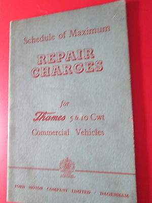 Thames 5 and 10 cwt Commercial Vehicles Schedule of maximum Repair Charges 1962