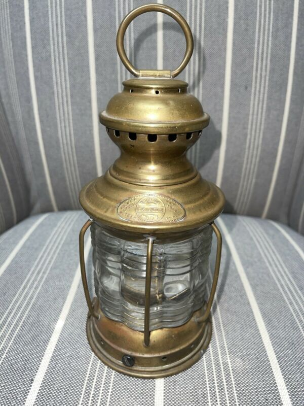 "Vintage National Marine Lamp Co. Clear Globe Oil Lantern 8 1/2"" Tall"