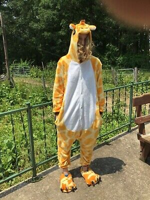 Adult Giraffe Pajamas Onsies Kigurumi Animal Cosplay Halloween Costume For Women