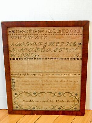 Antique Early Sampler Mariah Spear Aged 10 1827 Alphabet & Verse Framed
