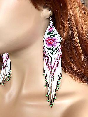 NEW WOMEN BEADED HANDMADE NATIVE INSPIRED WHITE EXTRA LONG ROSE FLOWER EARRINGS