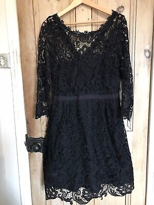 Monsoon Black Lace Dress Size 16 18 Victorian Goth Party Christmas Steampunk
