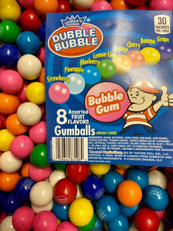 """Double Bubble One Inch Gumballs Assorted Flavors 5 Pound GUM BALLS 1"""" inch"""
