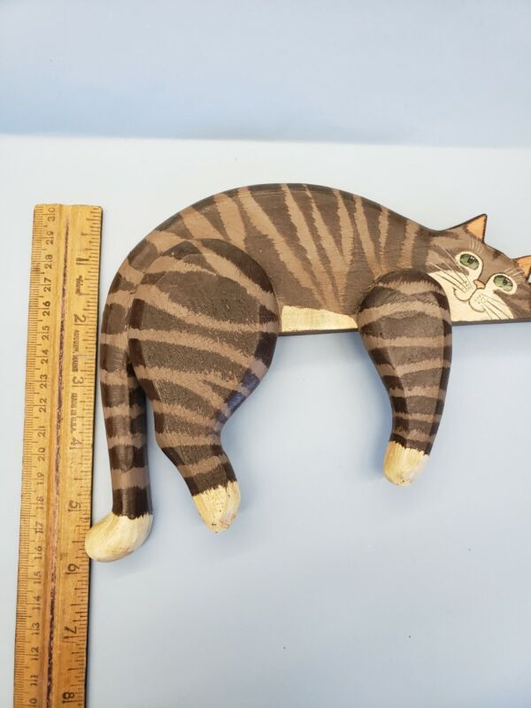 Primitive Country Cat Shelf Sitter Wooden Happy Tabby Green Eyes Handpainted