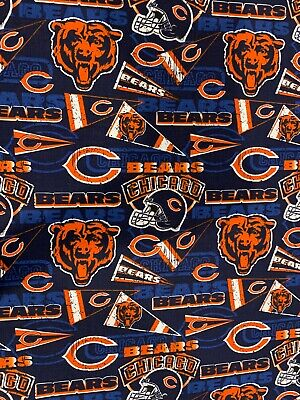 "NFL Chicago Bears Retro Cotton 1/4 Yard (9""x44"") DIY MASK Ships FAST"