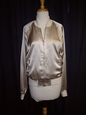 ih nom uh nit silk bomber jacket oyster cuffs size 1 small EXCELLENT SAMPLE OOAK