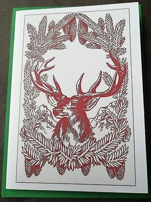Yule stag and fir tree card, vintage reprint, Winter Solstice, Herne, pagan ()