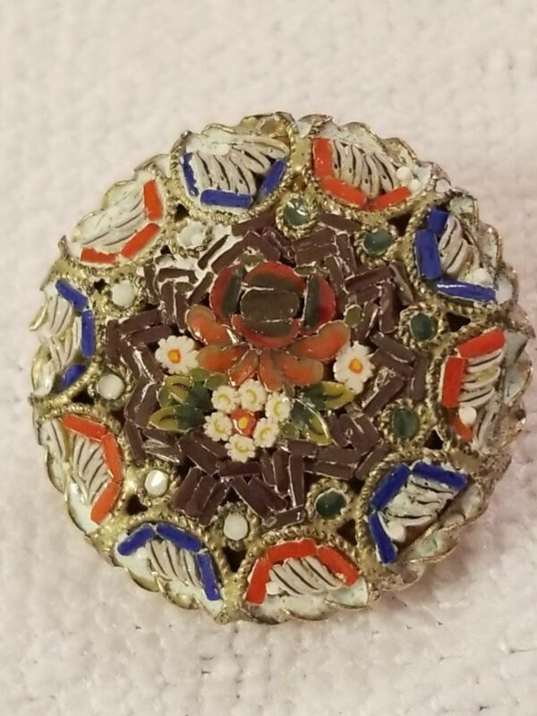 Pre-1950 Gorgeous ITALY Micro Mosaic Glass  Brooch/pin C-Clip has been repaired