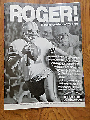 1972 Equitable Life Insurance Ad Nfl Football Dallas Cowboys Roger Staubach