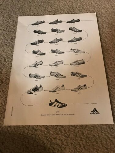 1926-1997 ADIDAS EVOLUTION OF SPIKE RUNNING SHOES Poster Print Ad DONOVAN BAILEY