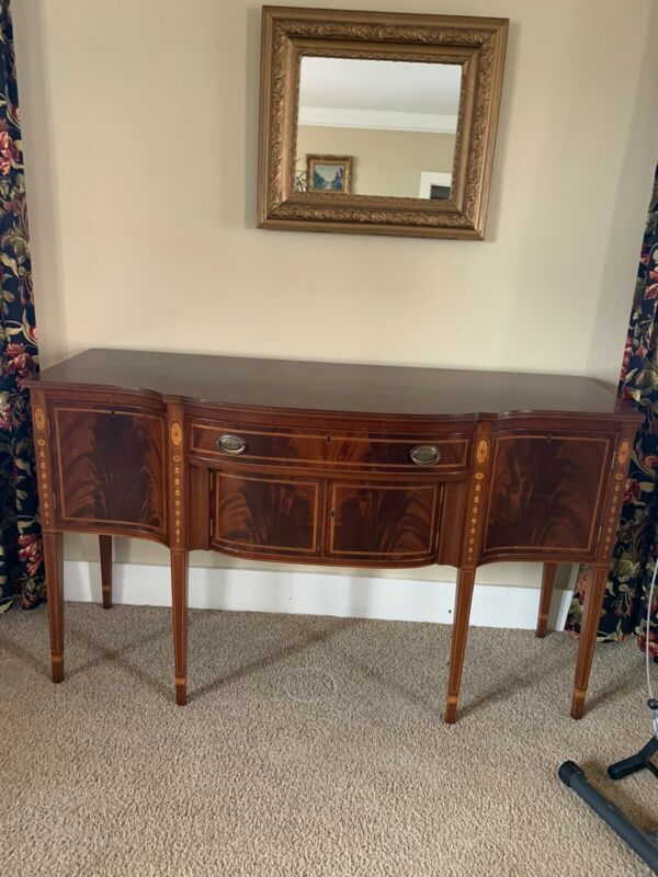 BIGGS Inlaid Flame Mahogany Federal Style Sideboard