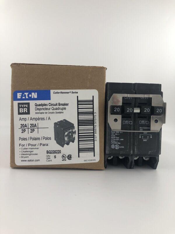 Eaton BQ220220 Type BQ 4-Pole 20A Plug-On Circuit Breaker FREE SHIPPING